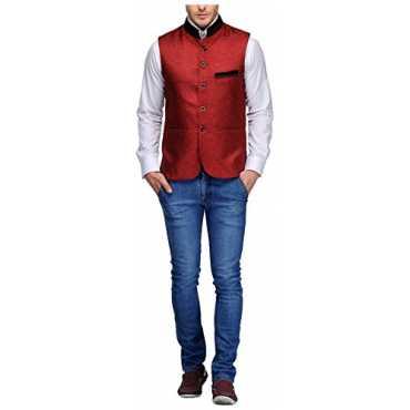 Men's Mandarin Collor Waistcoat (NJ-771-MRN-42, Maroon )