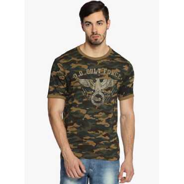 Khaki Printed Round Neck T-Shirt