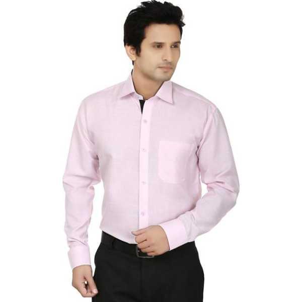 Men's Solid Formal Pink Shirt