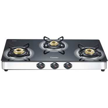 Prestige Royale Plus SS Gas Cooktop (3 Burner) - Black | Steel