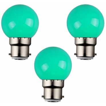KWW 0.05W B22 LED Coloured Bulb (Green, Pack of 3) - Green