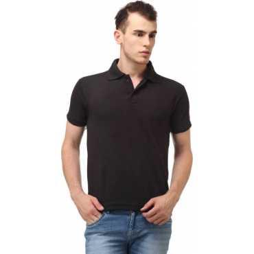 Solid Men s Polo Neck Black T-Shirt