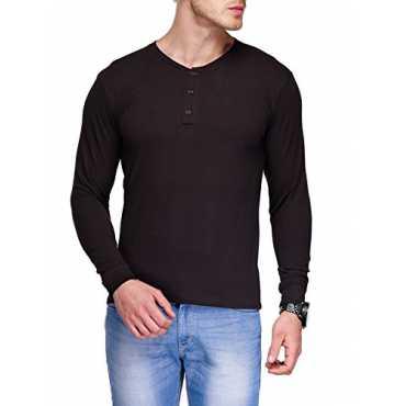 Men s Cotton Henley T-Shirt TSX-HENLY-2-L_Black_Large