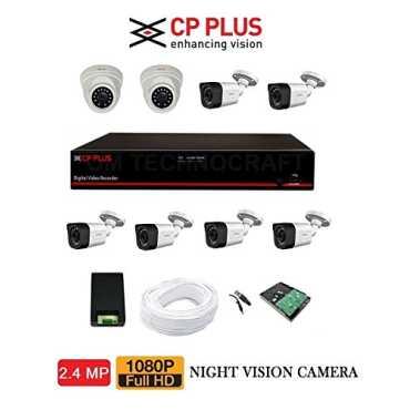CP PLUS CP-ER-0804E1-TS 8CH DVR,6(CP-GTC-D24L2-V3) Bullet Camera,2(CP-GTC-T24L2C-V3) Dome Camera (2TB HDD With Accessories) - Black