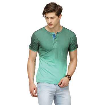 Campus Sutra Half Sleeve Bottle Green T-Shirt For Men