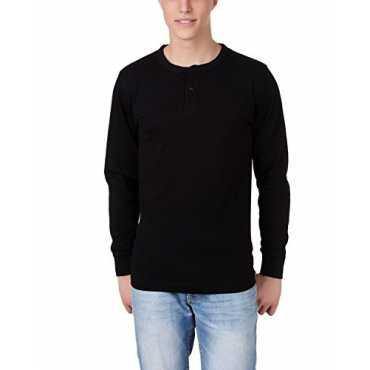 Henley Full Sleeves Black T-Shirt