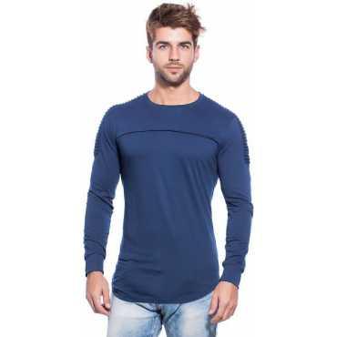 Self Design Men s Round Neck Dark Blue T-Shirt