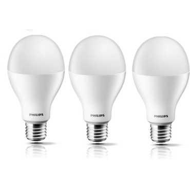 Philips Steller Bright 17W E27 Standard LED Bulb (White, Pack of 3) - White