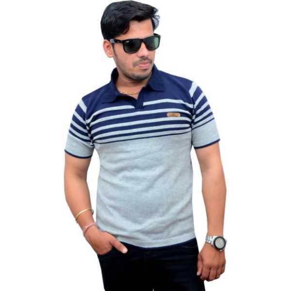 CottonAvenue Self Design Men's Peter Pan Collar Multicolor T-Shirt