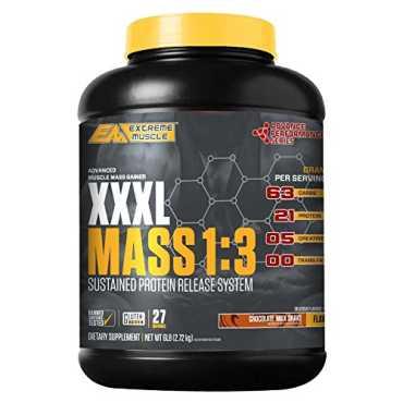 Extreme Muscle XXXL Mass 1:3 Protein (6lbs, Chocolate Milk Shake) - Brown