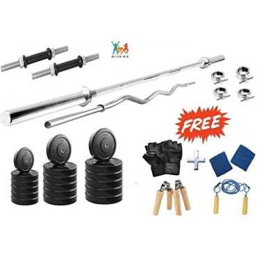 Bodyfit 22 kg Home Gym Set 3ft Curl Rod 5ft Plain Rod 2x14Inch Dumbell Rods Gloves 4 Locks Gripper Rope Wrist Band