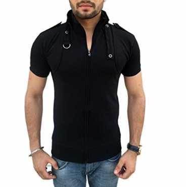 Tees Collection Men's Full Zip Dragon Neck Cotton T-shirt (TCBC001_Black_S)