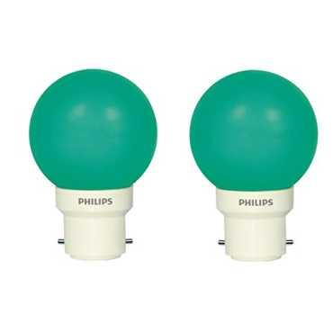 Philips 0.5 W Decomini  B22 LED Bulb (Green, Pack of 2) - Green