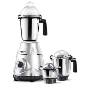 Eveready Bolt 750W 3 Jars Mixer Grinder - Steel | Black | Grey | Silver
