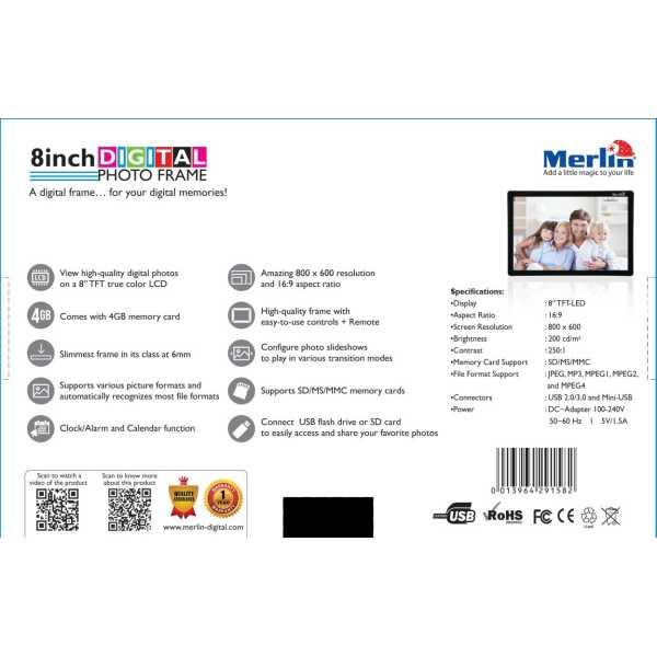Merlin 8 inch Digital Photo Frame - Black