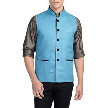 Men's Rayon Bandhgala Festive Blue Nehru Jacket Waistcoat