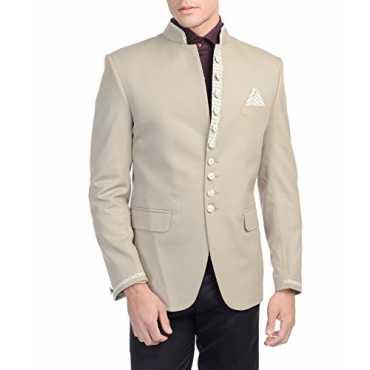 Men's Rayon Cotton Modified Bandhgala Festive and Casual Beige Nehru Mandarin Blazer