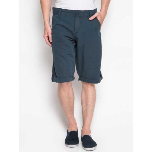 Men Navy Printed Slim Fit Chino Shorts