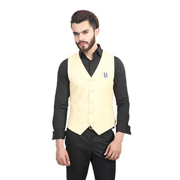 ManQ Yellow Slim Fit Party Casual Men s V Neck Waist Coat