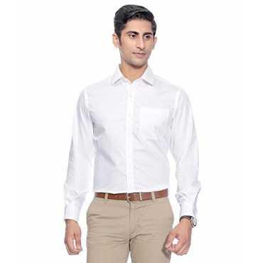 Swisscott White Cotton Formal Slim Fit Full Sleeves Shirts For Men (40)