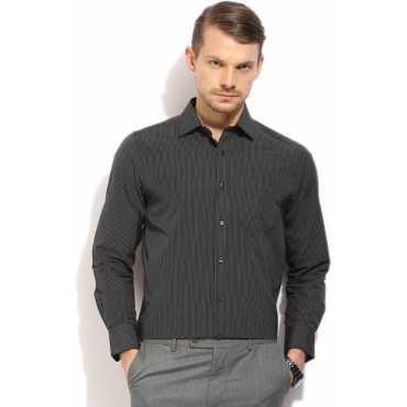 Men's Striped Formal Black Shirt