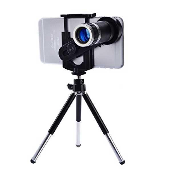 Universal 8X Zoom Mobile Phone Telescope Camera Lens Kit (With Mini Tripod& Holder) - Black