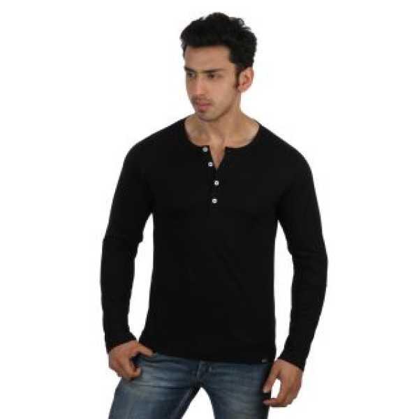 Men's Black Henley T-Shirt
