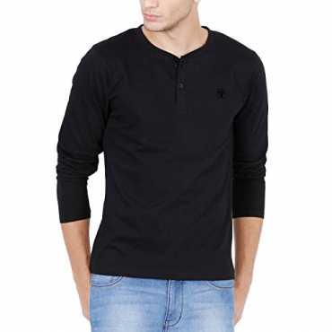 Freak Full Sleeve T Shirt For Men Stylish Henley Neck Black (FF004) (M - 38)