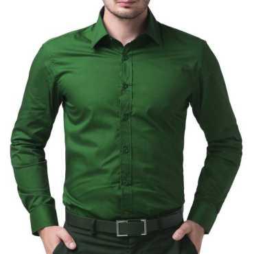 Men's Solid Formal Green Shirt