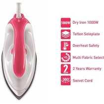 Syska Ezio 1000W Dry Iron - White   Pink