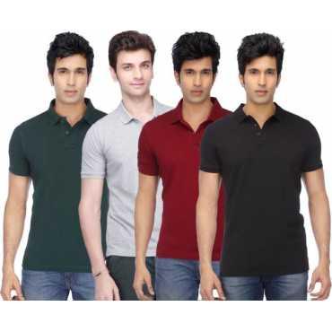 Solid Men s Polo Neck Multicolor T-Shirt