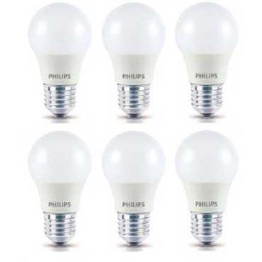 Philips 4W Standard E27 350L LED Bulb (White,Pack of 6) - White