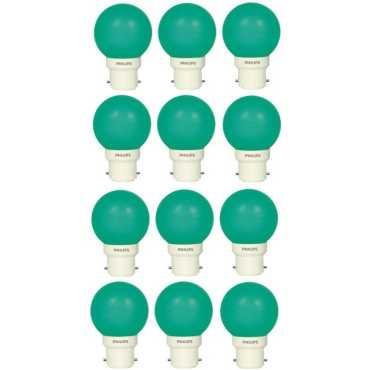 Philips 0.5W B22 Standard LED Bulb (Green, Pack Of 12) - Green