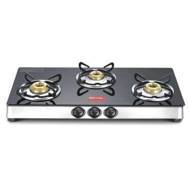 Prestige Marvel Plus Aluminum Gas Cooktop (3 Burner) - Black