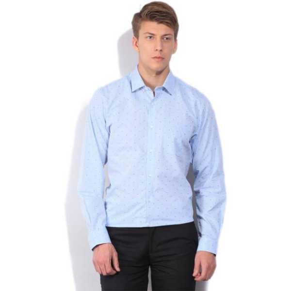 Men's Printed Formal Light Blue Shirt