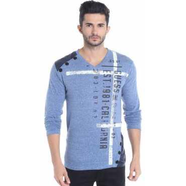 Printed Men V-neck Blue, White T-Shirt