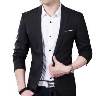 Men s Black Slim Fit Blazer Suit Jacket