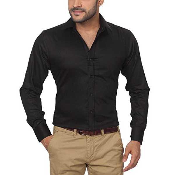 GlobalRang Men's Cotton Black Formal Shirt, Size-S