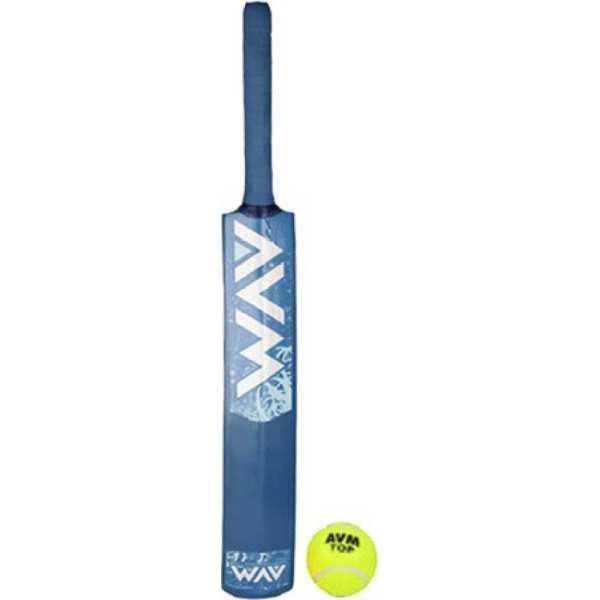 Avm Blue Cricket Bat (Size 3) And Ball - Blue