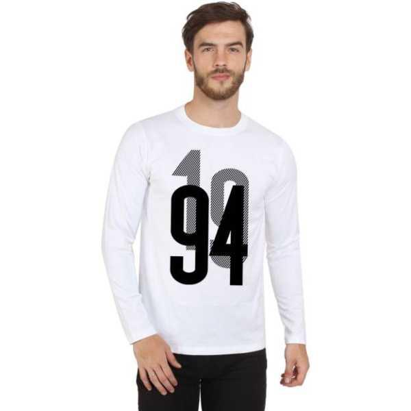 Printed Men Round Neck White, Black T-Shirt