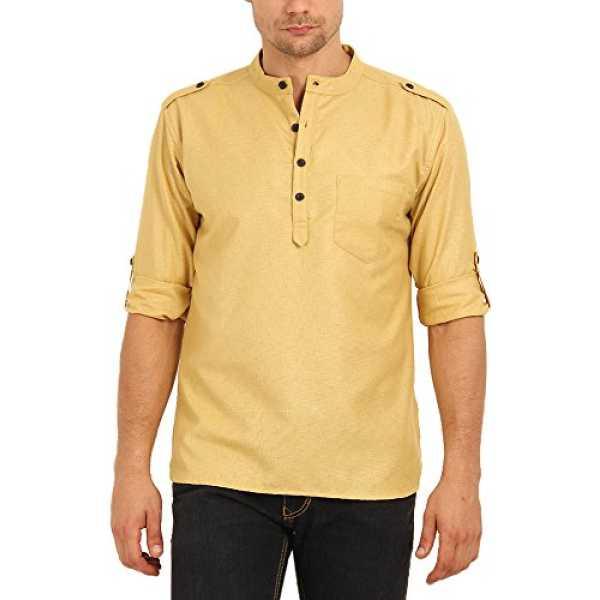 Men's Blended Straight Kurtas (SVCK1397L, Yellow, Large)
