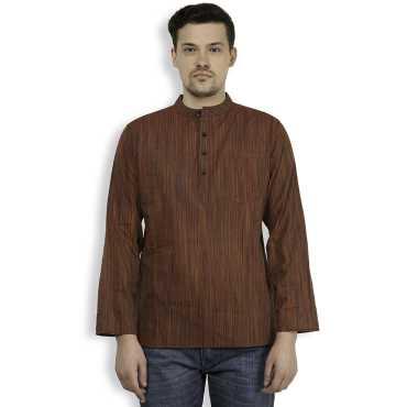 Brown Cotton Striped Mens Short Kurta