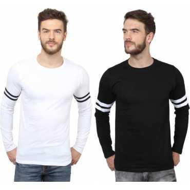 Solid Men's Round Neck Black, White T-Shirt