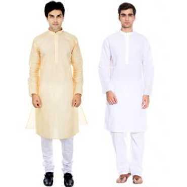 RiverZone- Men's White  Beige Cotton Kurta Pyjama- Pack of 2