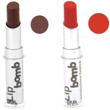 Color Fever Color Fever Lipstick 18-13 (Orange, Coffee) (Set of 2) - Orange