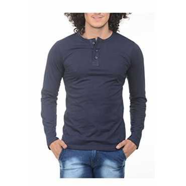 Men's Cotton T-Shirt (Ttts Henley Navy Blue - M_Medium)