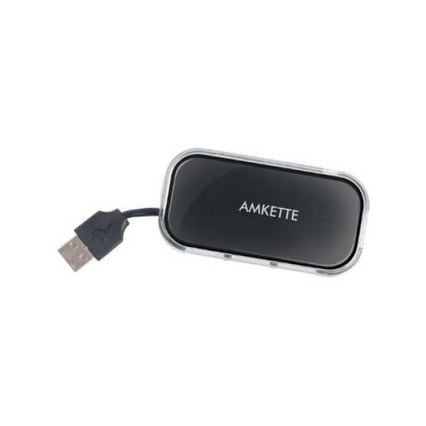 Amkette FUH340 4 Port USB Hub - Black