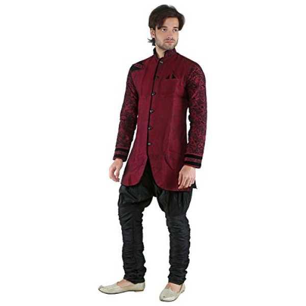 Men's Linen Kurta Pyjama (NL 2429, Maroon, Large)