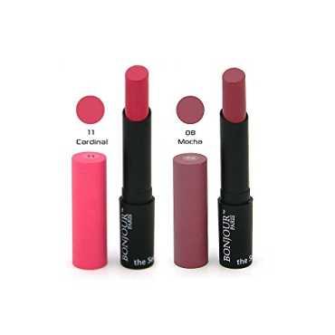 Bonjour Paris Super-Matt Lipstick Combo (11 Cardinal,08 Mocha) - Pink