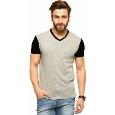 Tripr Solid Men s V-neck Multicolor Black Grey T-Shirt